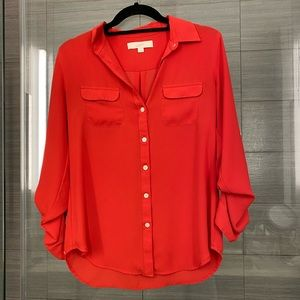 LOFT Button Down Red Polyester Blouse